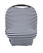 The Good Baby 4 in 1 Car Seat Cover for Boys - Stretchy Carseat Canopy, Nursing Cover, Grocery Cart Cover, Infinity Scarf - Navy/White Stripes