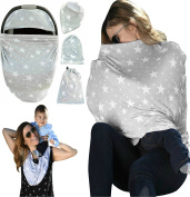 Nursing Cover Breastfeeding Scarf | Baby Car Seat Cover Canopy | Highchair, Shopping Cart, Stroller, Carseat Covers - Best Multi-Use Infinity Stretchy Shawl For Girls and Boys