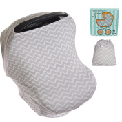 """Koala Little Stretchy Car Seat Covers, Multi-Use Carseat Canopy Girl Or Boy, Shopping Cart And Nursing Cover For Breastfeeding Moms. Fits Most Infant Car Seats! Best Baby Shower Gift! """" White/Black """""""