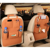 M'Baby 1pc Seat Back Car Organiser Woollen Felt Seat Back Kick Protectors for Kids, Storage Bottles, Tissue Box, Toys