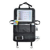 The Travel Nanny Car Seat Back Organiser & Protector - Waterproof - Handy Media Pocket Holds Up To 26cm Display Tablets - Kick Mat, iPad Holder, Pockets For Accessories, Straps to Back of Front Seat.