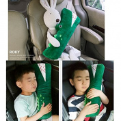 Cute Doll Car Seat Strap Belt Cushion Cover for Kids Children, Auto Adjustable Pillow Pad Vehicle Car Safety Belt Toy Pet Protect Shoulder Chest Child