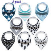 Baby Bandana Drool Bibs Organic 8 Pack for Boys and Girls 100% Absorbent Soft Cotton Bandana Baby Bibs for Teething Feeding Baby Shower Gift