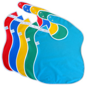Toppy Toddler LARGE Waterproof Feeding Baby Bibs. Better Snap Buttons. Bib Easily Wipes Clean! 5-Pack Gift Set for Boys and Girls Ages 9 Months to 4 Years, Reversible