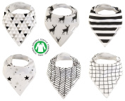 Baby Bandana Drool Bibs Organic 6 Pack for Boys and Girls Soft Cotton With Snaps for Teething Drooling Feeding Unisex Baby Shower Gift Newborn Registry Gift Set Burp Cloth