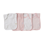 Burt's Bees Baby - Set of 4 Bee Essentials Lap Shoulder Bibs, 100% Organic Cotton, Blossom Variety