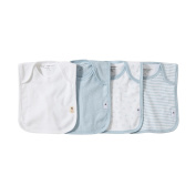 Burt's Bees Baby - Set of 4 Bee Essentials Lap Shoulder Bibs, 100% Organic Cotton, Sky Variety
