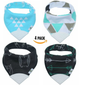 Pickle & Olive Baby/Toddler Bandana Teething Bibs With Attached BPA-Free Silicone Teether, Set Of 4, Water-Resistant, Adjustable Snaps, No Hook and loop, Best Unique Baby Shower Gift For New Moms, Black/Blue