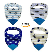 Pickle & Olive Baby/Toddler Bandana Teething Bibs With Attached BPA-Free Silicone Teether, Set Of 4, Water-Resistant, Adjustable Snaps, No Hook and loop, Best Unique Baby Shower Gift For New Moms, Blue Sea
