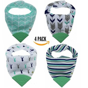 Pickle & Olive Baby/Toddler Bandana Teething Bibs With Attached BPA-Free Silicone Teether, Set Of 4, Water-Resistant, Adjustable Snaps, No Hook and loop, Best Unique Baby Shower Gift For Moms, Blue Deer