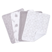 Trend Lab Circles 4 Piece Burp Cloth Set, Grey/White