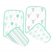SwaddleDesigns Cotton Muslin Baby Burpies, Set of 2 Cotton Burp Cloths, Green Woodland