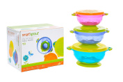 Smart Sprout Baby Bowls – Stay Put Suction Bowls Set with Snap Tight Lids - FDA Approved, BPA Free, Lead Free, Phthalate Free - Stackable for easy Storage – Microwave, Dishwasher and Freezer Safe