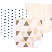 """Baby Burp Cloth Large 50cm x 25cm Size Premium Absorbent Triple Layer 3 Pack Gift Set For Girls """"Blush Set"""" by Copper Pearl"""