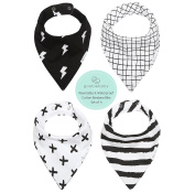 REVERSIBLE & WATERPROOF Cotton Baby Bandana Drool Bibs for Boys or Girls with Adjustable Snaps, Pack of 4 Soft Absorbent Cute Bib Set for Teething Drooling, Perfect Baby Shower Gift