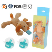 Brown Puppy Pacifier Animal,STAR-FLY Baby Pacifier with Detachable Silicone for Pacifier Newborn Boy & Girl