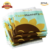 Disposable Table Topper Placemat - Educational - 60 Individually Folded - BPA-free 100% Eco-Friendly Plastic - stick on Adhesive for Baby, Toddler or Kids
