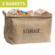 2 Jute STORAGE BINS (Bundle) 36cm Long (NEW! Thicker Jute), large enough for Toy Storage - Storage Basket for organising Baby Toys, Kids Toys, Baby Clothing, Children Books, Gift Baskets.