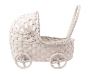 Willow Cradle Baby Shower Basket in White - 28cm L