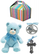 Baby Boy Baptism Gift Set   Pewter Crib Cross, Crib Medal and Plush Teddy Bear