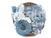 Sunshine Gift Baskets - Bambini Blue Baby Boy Outfit with a Plush Bunny Rattle