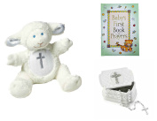 Baby Christening Baptism Gift Set – Keepsake Box Rosary Lamb and Book of Prayers