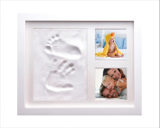 IDEAL MOTHERS DAY GIFT CUTEST BABY HAND & FOOTPRINT PICTURE FRAME KIT for Boys and Girls, Cool & Unique Baby Shower Gifts for Registry, Memorable Keepsakes Decorations with Newborn Priceless Prints