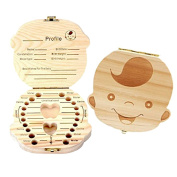 Luxanna Baby Tooth Box, Cute Wooden Box for Saving Primary Tooth, Album Keepsake Souvenir of Deciduous Tooth Organiser