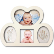 Best Newborn Babyprints Kit - Baby Handprint and Footprint Photo Frame Keepsake. Cool & Unique Gift Idea for Baby Boys and Girls. White, New 2017 Design
