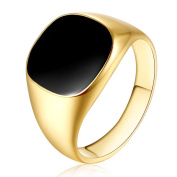 DDLBiz Men Classic Solid Polished Stainless Steel Signet Ring Gold/ Silver ,Size