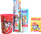 Paw Patrol Children's Oral Hygiene Care Set Powered Toothbrush & Fluoride Toothpaste, Band Aids & Mouth Rinse Cup