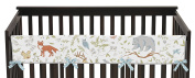Baby Crib Long Rail Guard Wrap Cover Teething Protector for Woodland Animal Toile Girl or Boy Bedding Collection