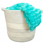 Cotton Rope Basket with Handles for Baby Nursery and Kid's Toy Storage, Laundry Hamper, Bathroom Storage and Closet Organiser