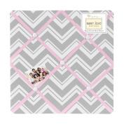 Pink and Grey Chevron Zig Zag Fabric Memory/Memo Photo Bulletin Board by Sweet Jojo Designs