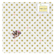 Fabric Memory/Memo Photo Bulletin Board for Blush Pink White Damask and Gold Polka Dot Amelia Collection