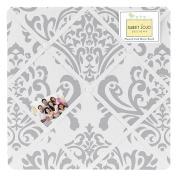 Grey and White Damask Fabric Memory/Memo Photo Bulletin Board