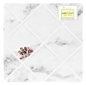 Modern Grey, Black and White Marble Print Fabric Memory/Memo Photo Bulletin Board