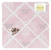 Pink and Grey Damask Butterfly Fabric Memory/Memo Photo Bulletin Board For Alexa Collection