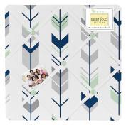 Sweet Jojo Designs Grey, Navy Blue and Mint Woodland Arrow Fabric Memory/Memo Photo Bulletin Board