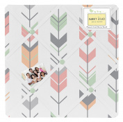 Sweet Jojo Designs Grey, Coral and Mint Woodland Arrow Fabric Memory/Memo Photo Bulletin Board