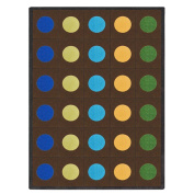 Joy Carpets Kid Essentials Early Childhood Lots of Dots Rug, Earthtone, 2.1m x 3m