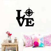 BIBITIME Creative Sayings Love Compess Wall Stickers PVC Home Decorations Quotes Decals for Living Room Bedroom Nursery Kids Room Decor 60cm x 60cm