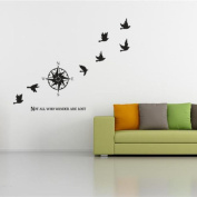 """BIBITIME Compass Wall Saying Quotes """"Not ALL WHO WANDER ARE LOST"""" Vinyl Lettering Home Decor Decal 6 Pigeons Peace Dove Sticker,90cm x 60cm"""
