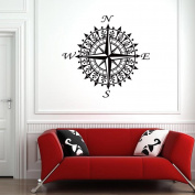 BIBITIME Nursery Kids Room Navigation Compass Wall Decals Art Graphic Stickers Decors for Living Room Vinyl Home Mural, 60cm x 50cm