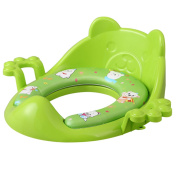 Nima's Green soft potty seat with handles | easy clean | for elongated toilet