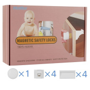 Baby Drawer Lock, HUIRUI Child Safety Magnetic Baby Locks, 3M Tape Installation No Need Drilling , Colour Box Package with 4 Locks + 1 Key