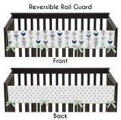 Sweet Jojo Designs Grey, Navy Blue and Mint Woodland Arrow Long Front Rail Guard Baby Teething Cover Crib Protector Wrap