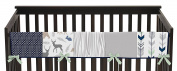 Baby Crib Long Rail Guard Wrap Cover Teething Protector for Navy Blue, Mint and Grey Woodsy Boy Bedding Collection