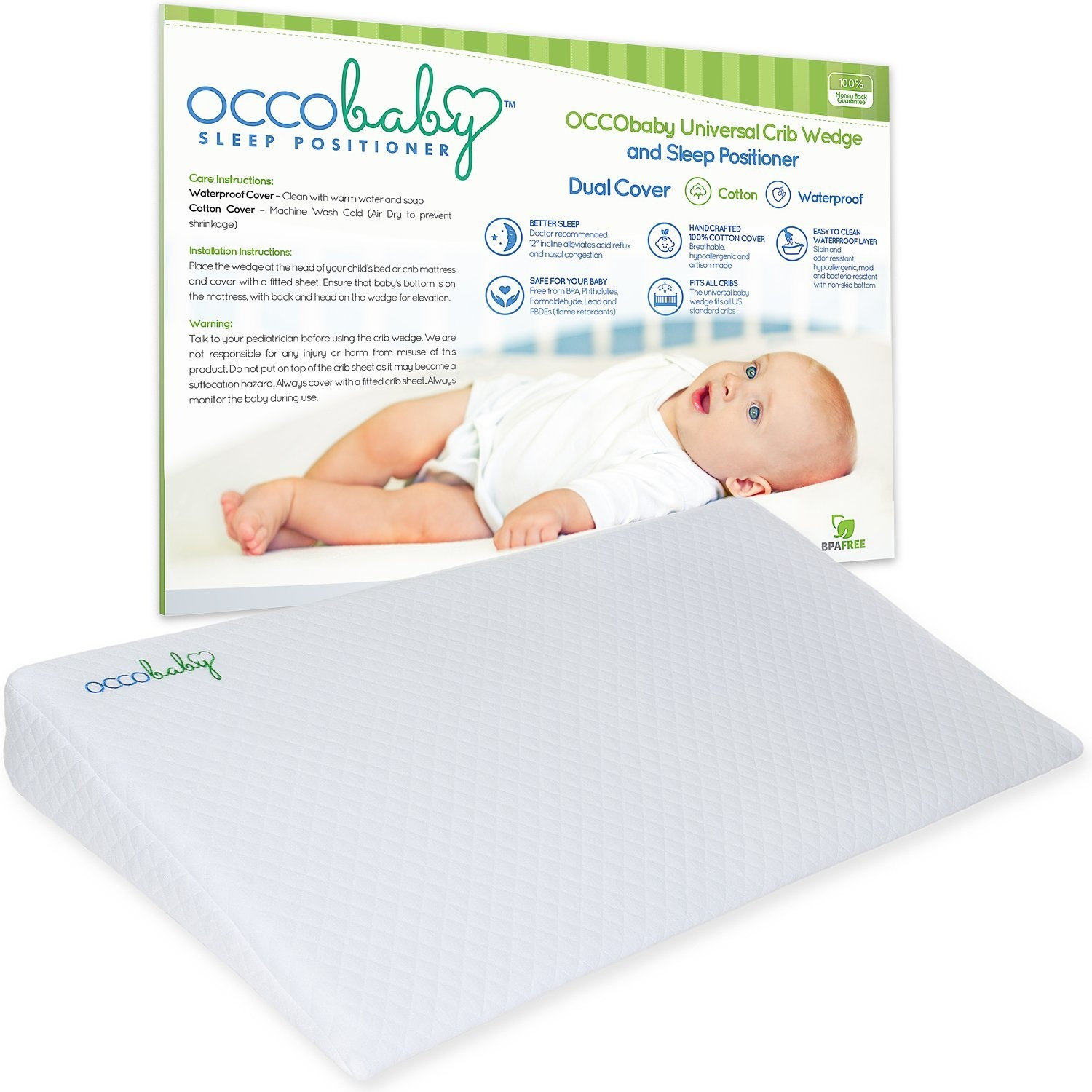 OCCObaby Universal Crib Wedge and Sleep Positioner for Baby Mattress |  Waterproof Layer & Handcrafted Cotton Removable Cover | 12-degree Incline  for
