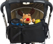 Stroller Organiser Bag with Stroller Hook, Extra Storage Space, Parent Organiser for Stroller, Universal Fit, Cup Holders, Handlebar Console